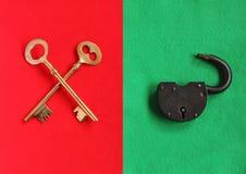 2 пересекли золотые ключи на войлоке красного цвета и раскрывают padlock на зеленом fe Стоковое фото RF