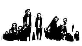 Переселенцы ждать в группе Стоковое Изображение