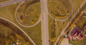 Пересечение 2 главных дорог сток-видео