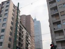 Пересечение города и высокие здания подъема Стоковые Фотографии RF