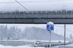 Пересечение дорог в снеге Стоковые Фото