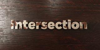 Пересечение - grungy деревянный заголовок на клене - представленное 3D изображение неизрасходованного запаса королевской власти Стоковое Изображение