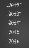 Пересеченные предыдущие годы и Новые Годы 2015, 2016 на доске иллюстрация вектора