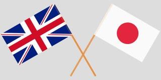 Пересеченные флаги Японии и Великобритании Официальные цвета вектор иллюстрация штока