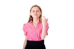 пересеченный думать женских перстов розовый wishful Стоковая Фотография RF