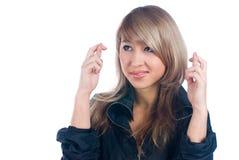 пересеченный жест перстов Стоковая Фотография RF