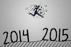 Перескакивание менеджера до 2014 до 2015 иллюстрация штока