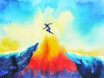 Перескакивание человека скача сверх к силе успеха, абстрактной иллюстрация штока
