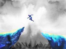 Перескакивание человека скача сверх к силе успеха, абстрактной иллюстрация вектора