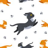 Перескакивать картина котов безшовная иллюстрация штока