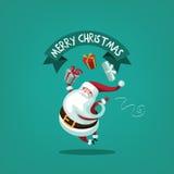 Перескакивать Санта меча подарки иллюстрация вектора