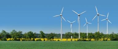 переулок за ветром турбин rapeseed поля Стоковые Фотографии RF