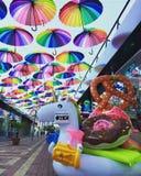 Переулок плавая зонтиков Стоковые Фото