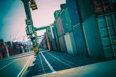 Переулок грузовых контейнеров Стоковое Фото