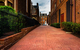 Переулок и дома кирпича внутри валят пункт, Балтимор, Мэриленд Стоковое Фото