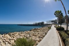 Переулок прогулки Лимасола, гавань, Кипр Стоковое Изображение