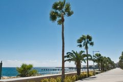 Переулок прогулки Лимасола, Molos, Кипр Стоковое Фото