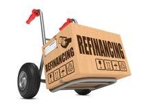 Перефинансировать - тележка картонной коробки в наличии. Стоковые Фотографии RF