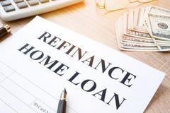Перефинансируйте применение ипотечного кредита Стоковая Фотография