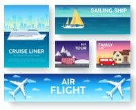 Переход изменений туристического гида каникул перемещения infographic Круиз, шина, летая на самолет, путешествие автомобиля Векто Стоковые Изображения