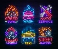 Переход неоновых вывесок собрания Неоновые эмблемы логотипа, обслуживание такси, мойка, автоматическое обслуживание, ремонт автом иллюстрация вектора
