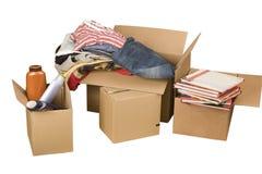 переход одежд картона коробок книг Стоковые Изображения