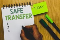 Переход текста сочинительства слова безопасный Концепция дела для провода переходов человека сделки электронно бумажного держа от стоковое фото rf