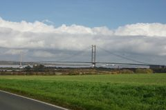 Переход через реку Кингстона моста Humber на корпусе Стоковое фото RF