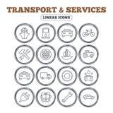 Переход, значки обслуживаний Корабль, автомобиль и шина иллюстрация вектора