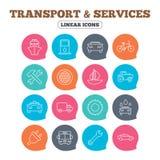 Переход, значки обслуживаний Корабль, автомобиль и шина бесплатная иллюстрация