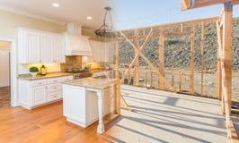Переход красивой новой домашней кухни от обрамлять к Complet Стоковые Фото