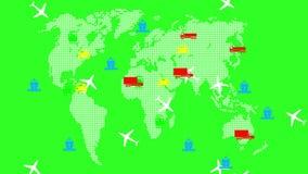 Переход мира глобальный Зеленая предпосылка экрана анимация 4K иллюстрация штока