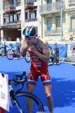 Переход тренировки спорта triathlete триатлона здоровый стоковое изображение rf