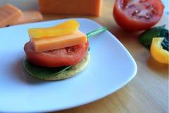 Перец блока сыра чеддера и томата кусков Стоковые Изображения