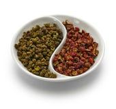 Перец, зеленый цвет и красный цвет Сычуань Стоковая Фотография RF