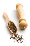Перец и деревянный стан перца Стоковые Фото