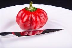 Перец и нож Стоковая Фотография RF