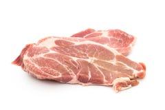 перец и розмариновое масло чеснока мяса шеи свинины resh сырцовые на белизне стоковая фотография