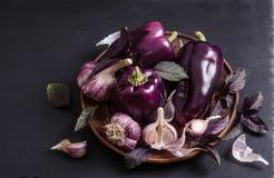 Перец свежего овоща фиолетовый с листьями базилика с чесноком стоковое фото