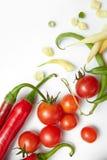 Перец, фасоли с томатами вишни Стоковая Фотография