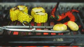 Перец чеснока и chili окантован со схватами утюга на гриле сток-видео