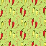 Перец чилей на картине зеленой предпосылки безшовной Дизайн ткани кухни вектора Стоковые Фото