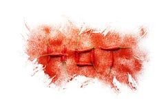 Перец чилей формируя горячее слово с взрывом порошка чилей Стоковое Изображение RF