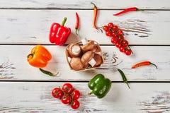 Перец, champignons и томаты вишни Стоковое Изображение