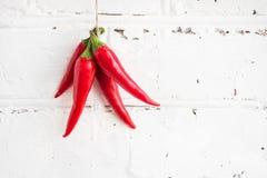 Перец Chili на белой предпосылке кирпича Стоковые Фото