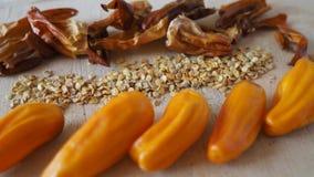 Перец Chili, свежий, сухой, семена стоковая фотография