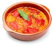 Перец del Piquillo заполненное с мясом или рыбами стоковое фото