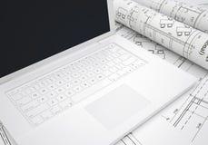 Перечени архитектурноакустических чертежей и компьтер-книжки Стоковое Изображение RF