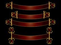 перечень красного цвета золота знамен Стоковая Фотография RF