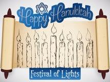 Перечень при свечи нарисованные рукой празднуя фестиваль огней Хануки, иллюстрацию вектора иллюстрация штока